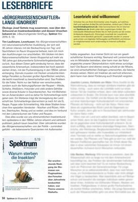 Leserbrief in Spektrum der Wissenschaft 8/19